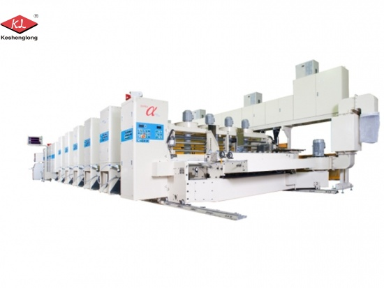 Flexo printing machine for corrugated box blanks